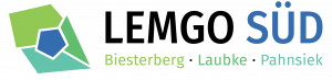 Fünfeck in Grün Blau, daneben Schrift Lemgo Süd Biesterberg Laubke Pahnsiek