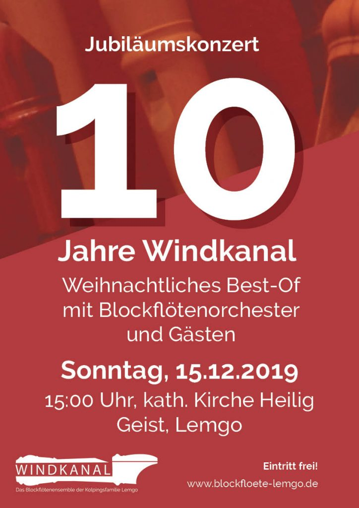 Jubiläumskonzert 10 Jahre Blockflötenensemble Windkanal am 15. Dezember2019 in Lemgo